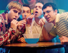 Joe Thomas, Simon Bird, James Buckley and Blake Harrison filming The Inbetweeners Movie 2