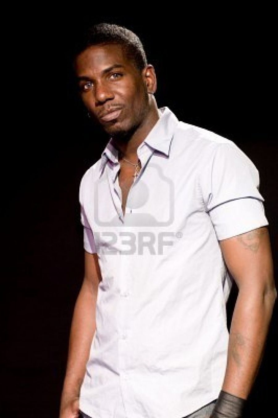Handsome Black African American Male Stage Actor Model Portrait Pose In Theater Stage