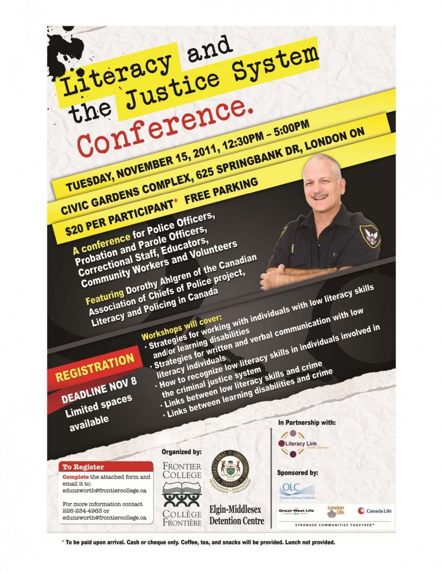 Literacy And The Justice System Conference Speaker Agenda Distribution Copy Page
