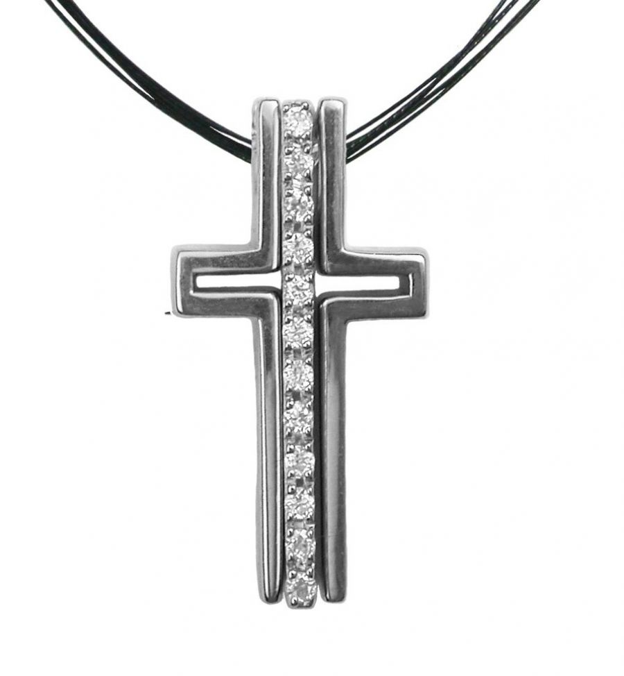 Strand Necklace Pave Trinity Cross