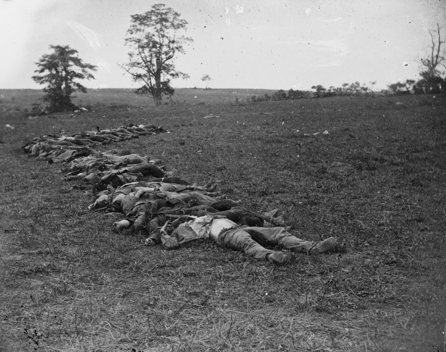 Confederate Dead Gathered For Burial At Antietam