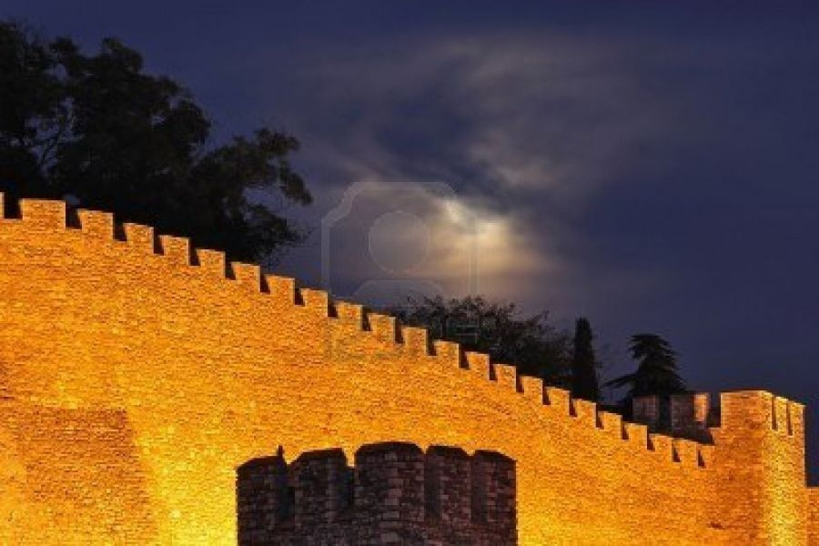 Night Shot Of Illuminated Wall Of Medieval Fortress Kale Skopje