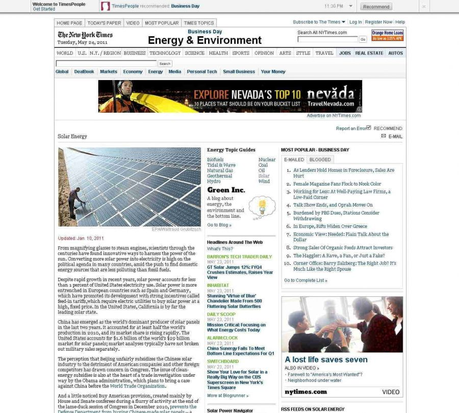 Solar Energy Science The New York Times