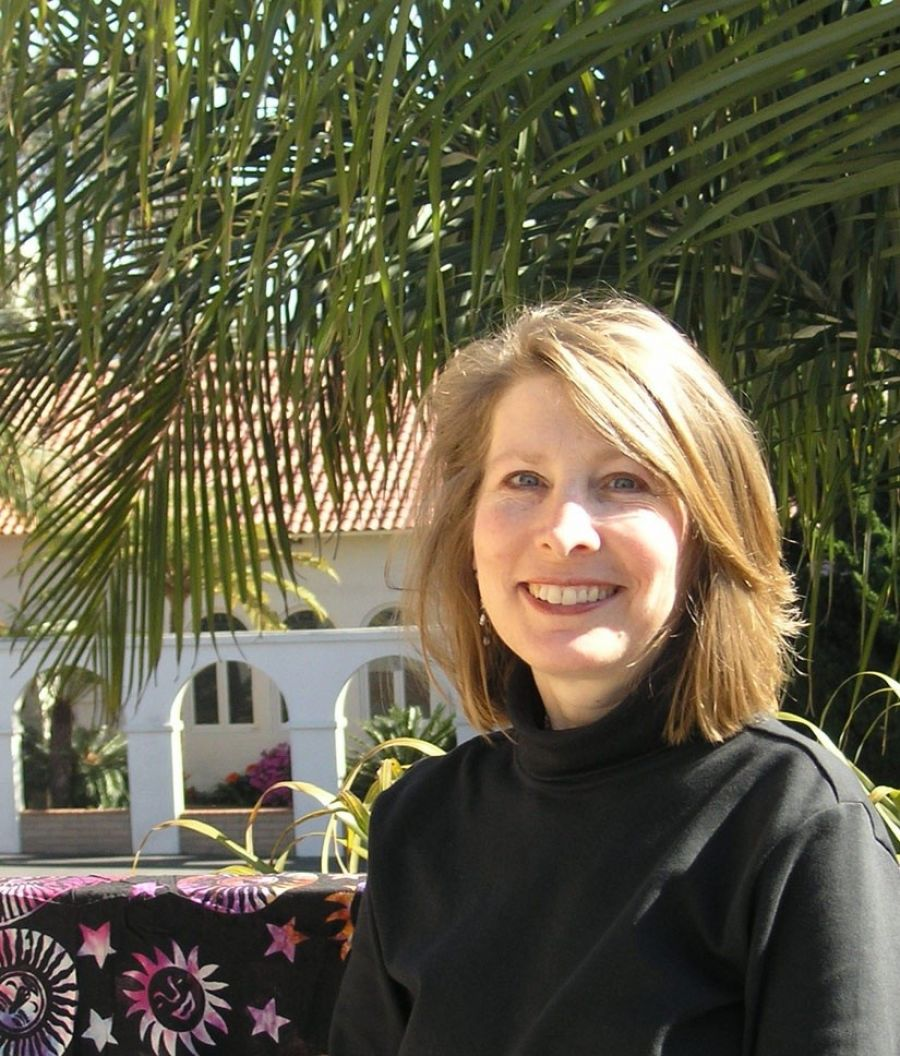 Laurie Baum In Front Of Encinitas Ashram