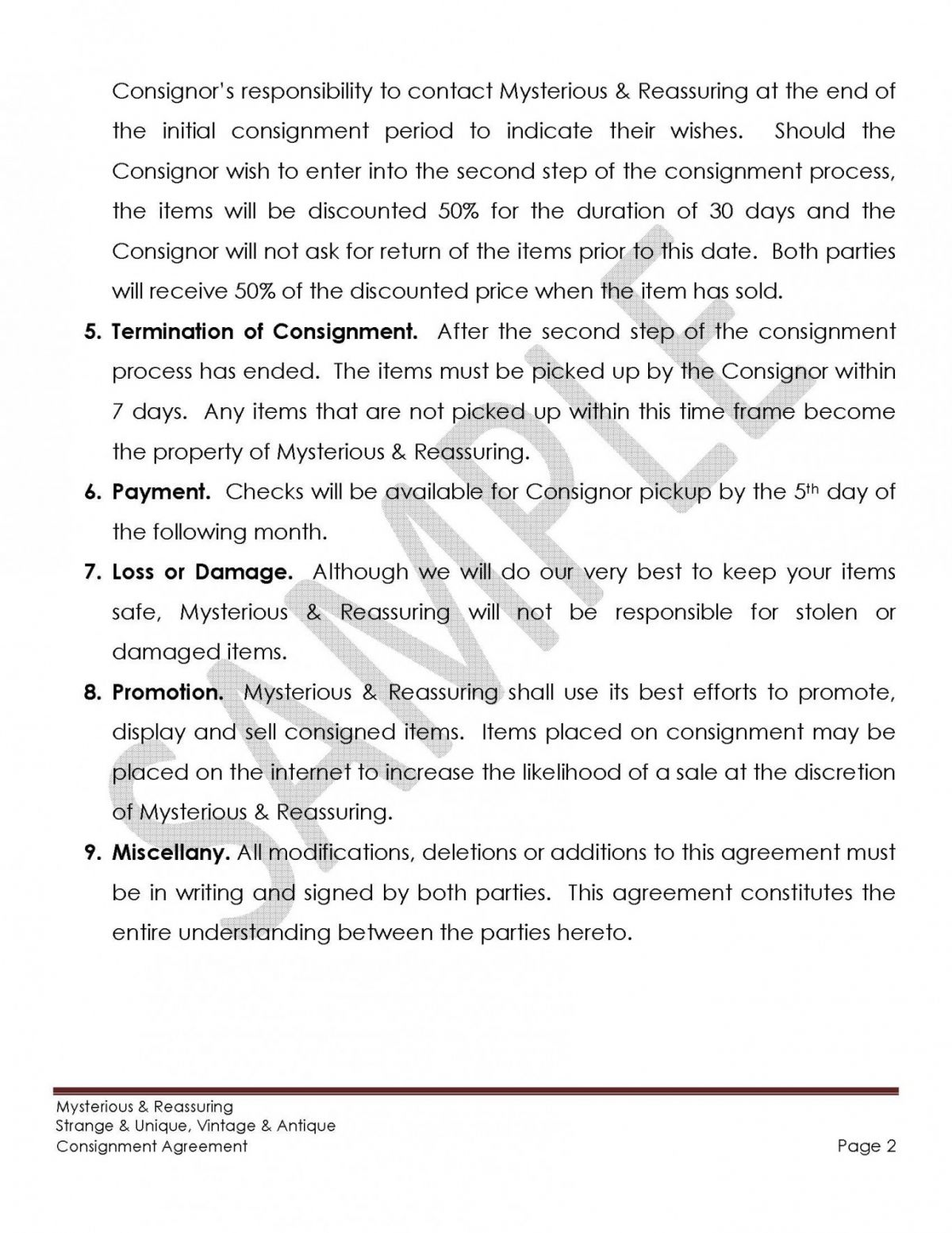 Sample Consignment Agreement